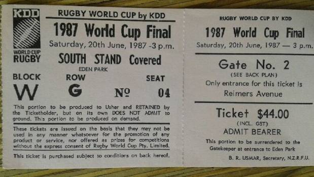 An original 1987 Rugby World Cup final ticket, which cost $44 at the time.