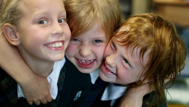 Marsden Primary 8-year-olds, from left, Zoe Cunningham, Sophie Penn, and Lulu Everett say looking out for one another is ...