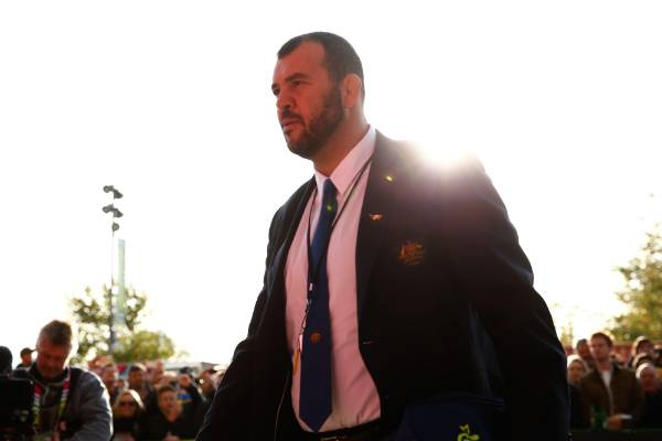 Wallabies coach Michael Cheika arrives at Twickenham ahead of the Rugby World Cup semifinal against Argentina.