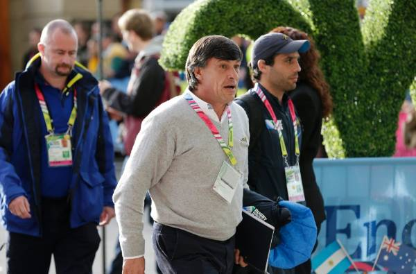 Argentina coach Daniel Hourcade arrives at Twickenham ahead of the Rugby World Cup semifinal against Australia.