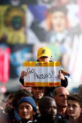 A young Wallabies fan at Twickenham shows his support for Australia ahead of their Rugby World Cup clash with Argentina.