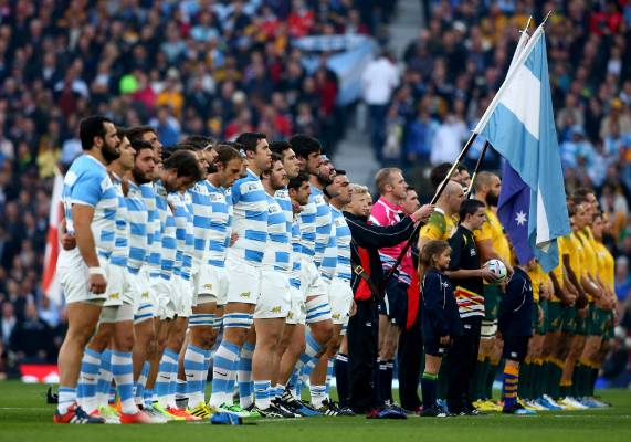 Argentina and Australia line up for the national anthems ahead of their Rugby World Cup semifinal.