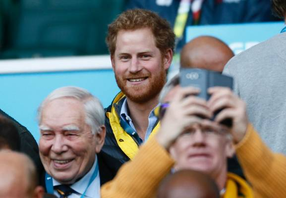 Prince Harry in the stands at Twickenham for the Rugby World Cup semifinal between Australia and Argentina.