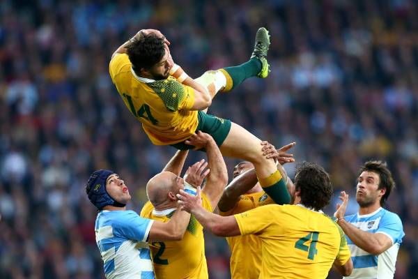 Wallabies wing Adam Ashley-Cooper claims a high ball.