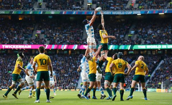 Argentina's Tomas Lavanini wins a lineout against the Wallabies in the Rugby World Cup semifinals.
