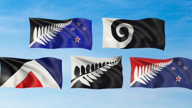 The five alternative flags to be voted on in the referendum.