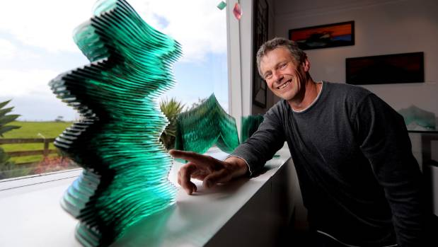 Glass artist Richard Landers has his art work on display in this year's Oakura Arts Trail.