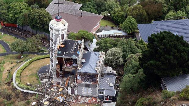 The timeball station after the February 2011 quake. The tower still stands, but the whole building is toast.