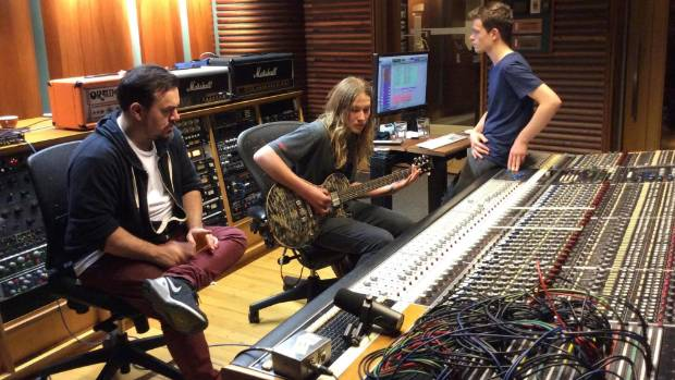 Shihad drummer and record producer Tom Larkin, Alien Weaponry singer and guitarist Lewis de Jong and Roundhead Studios ...