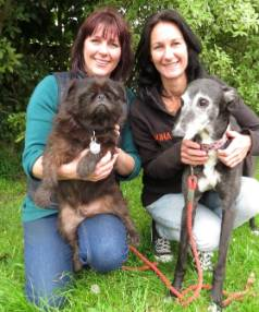 HUHA founder Carolyn Press-McKenzie, left, with foster dog Puggly, and Otaki HUHA shelter manager Claire Thornton, and ...