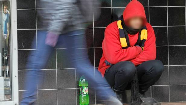 A beggar in Willis St, central Wellington.