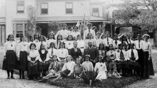 Some of the original students at Turakina Maori Girls School in Marton.