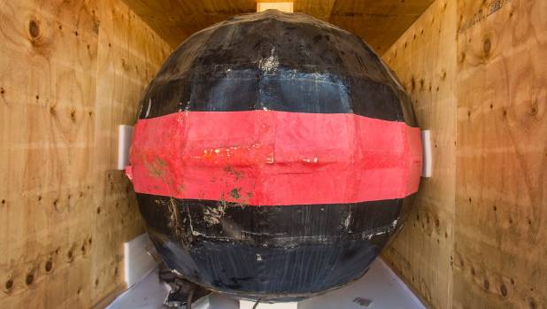 The timeball itself, in storage and awaiting repairs.