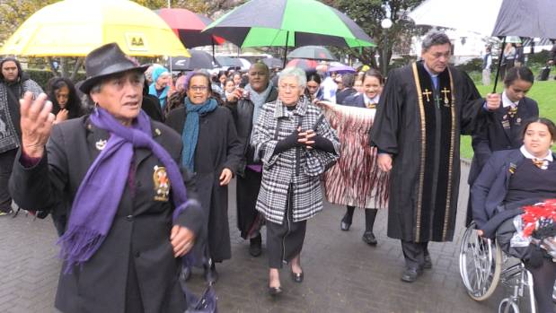 Representatives of Turakina Maori Girls College march on Parliament in protest at its possible closure.