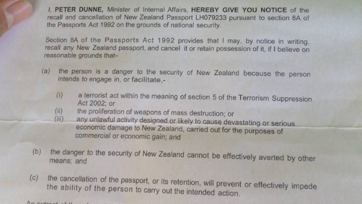 A letter from Internal Affairs Minister Peter Dunne to William Ringo Ratapu Howard, (aka Wiremu Curtis or Haroon Curtis) advises his NZ passport is being recalled and cancelled, on the grounds that he intends to engage in, or facilitate, terrorism.