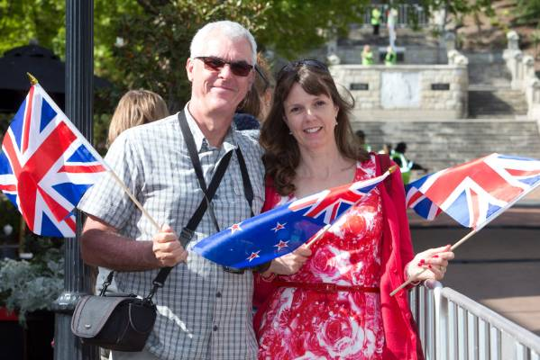David Green of Switzerland with his sister Clare Moody of Nelson on Trafalgar Street to see Prince Charles and Camilla, ...