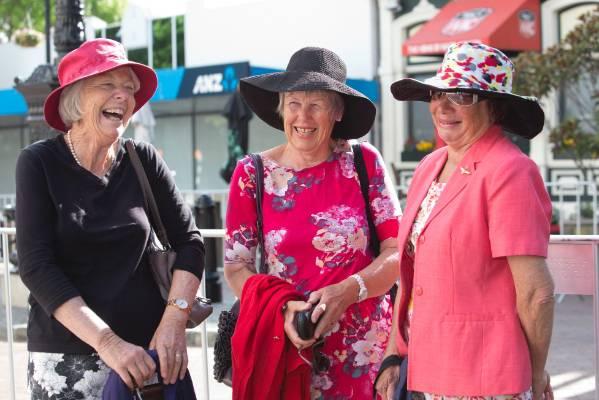 Adrienne Baigent, left, Sandra Nicholls and Sandy Rogan of Tapawera wait on Trafalgar Street.