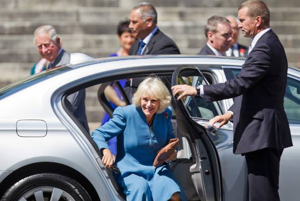 Camilla, Duchess of Cornwall arrives at the Church Steps on Trafalgar Street, Nelson.