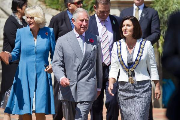 His Royal Highness The Prince of Wales and the Duchess of Cornwall walk down Trafalgar St with Mayor Rachel Reese during ...