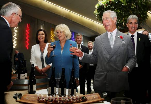 Prince Charles and Camilla sampling some of the fine wine from Mahana Winery.