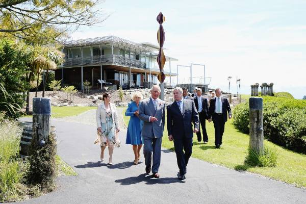 Prince Charles and Camilla are shown around Mahana Winery with owners Glenn Schaeffer and Chandler Parker.