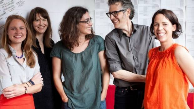 The success of the Serial podcast, created by Sarah Koenig (centre) and her crew, is regarded as the trigger for a rise ...