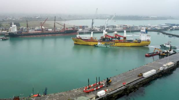 The MV Happy Dragon berths at Timaru on Sunday morning, bringing with it the final pieces of the South Canterbury port's ...