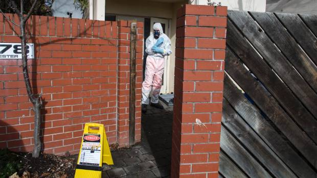 A specialist contractor decontaminates a Gloucester St Housing New Zealand unit after the tenants were evicted for drug ...