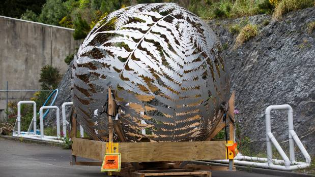 Wellington's fern sculpture by Neil Dawson spotted in the yard of 23 Centennial Highway. Council say it is suffering ...