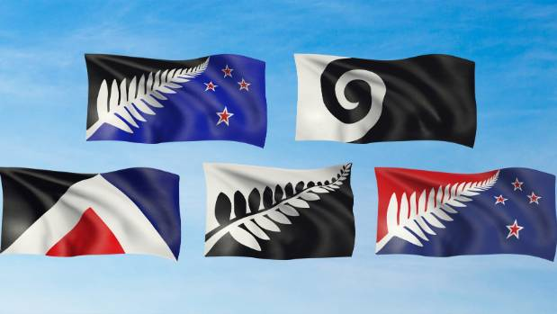 New Zealanders will choose which of these five flags will go up against the current one in a postal referendum starting ...
