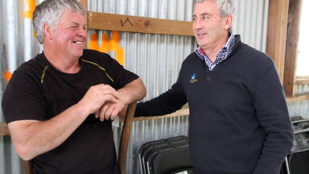 Barewood Station farm manager Marty Deans, left, chats with Lone Star Farms general manager Boyd MacDonald at a recent ...