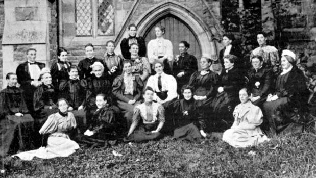 Christchurch peace activist Ada Wells, front right, with the delegates who formed the the National Council of Women.