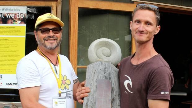 Jassy Dean Trust chairman Greg Dean presents Sacred Blessing Sanctuary head gardener Alan Smith with the People's Choice ...