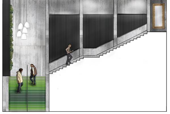 The interior of Masons Lane will also be transformed by new cladding and green steps.