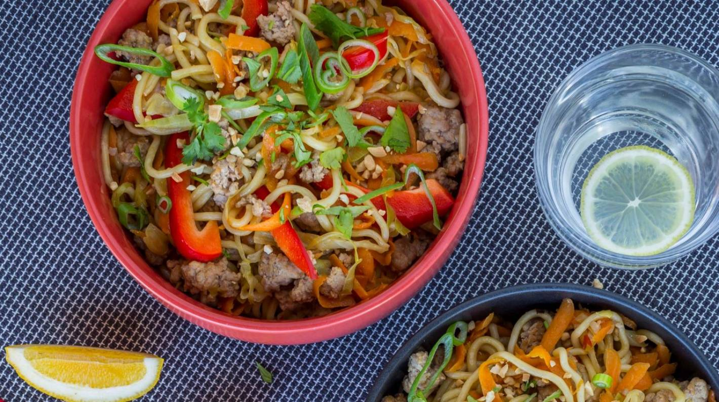 Nadia Lim's quick and easy pork and vegetable noodle stir ...
