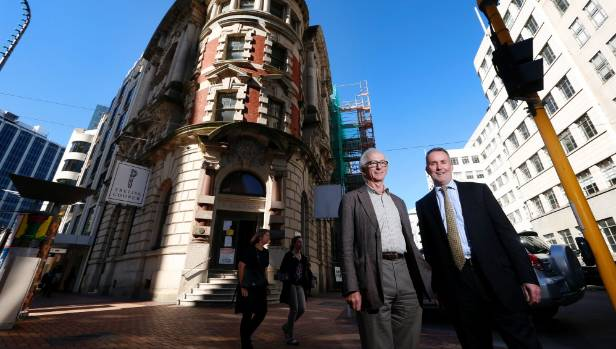 Developer Maurice Clark  and Culture and Heritage Ministry chief executive Lewis Holden outside the quake-damaged Old ...