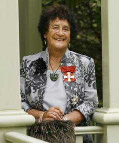 Dame Iritana Tawhiwhirangi with her DNZM for services to Maori education in 2010.