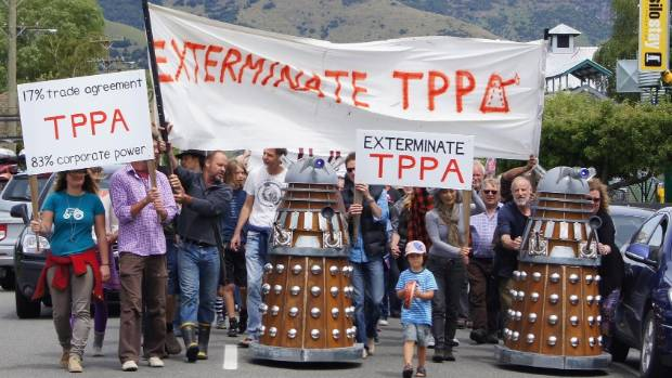 More than 100 people - and two Daleks - turned out to protest the TPPA in Canterbury's Little River in November.