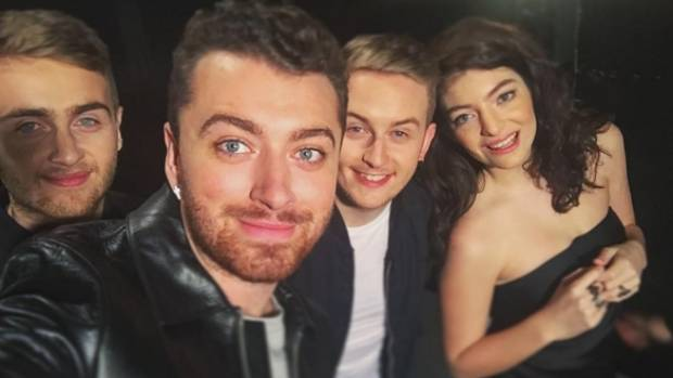Sam Smith shared this image while on set during Saturday Night Live reshearsals.