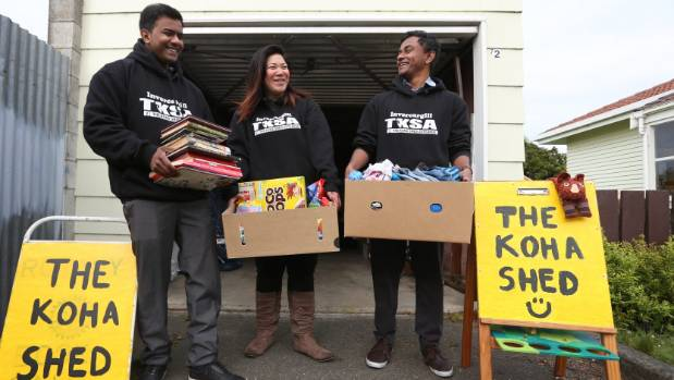 Rakib Mahbub, Liz Merito and Parisuthan Kaneshwaren of the Invercargill Koha Shed say they receive over four messages a ...