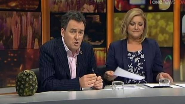Mike Hosking with Seven Sharp co-host Toni Street.