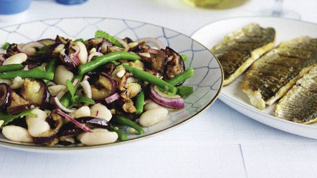 Awesome This Oily Fish Brings A Lovely Flavour That Works Well With The Eggplant  And Beans.