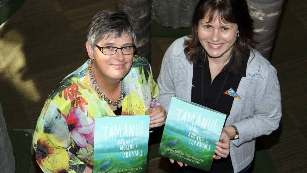 Linley Wellington and Rebecca Beyer with their new book Tamanui, The Brave Kokako of Taranaki.