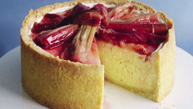 The tart flavour of rhubarb topping is perfect with the sweet filling.