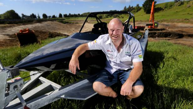 Leighton Minnell is taking a break from racing speedboats to building a track for them in Waitara