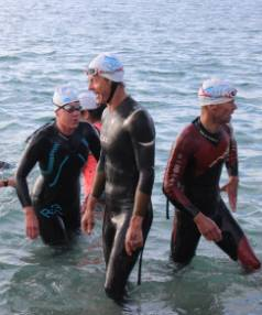 Tight finishes were a feature of Thursday night's Port Nelson Sea Swim. Kerry Mathieson, left, finished in 14th place, ...