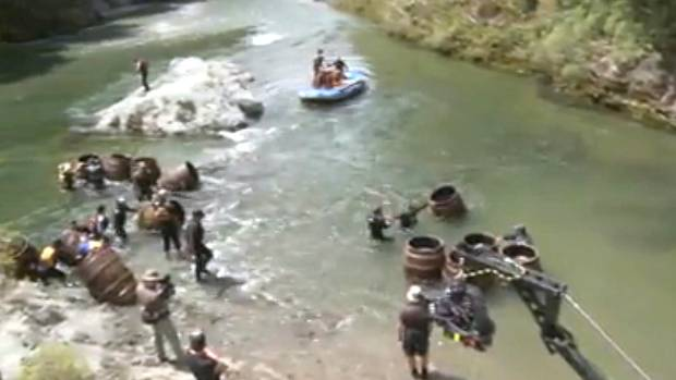 Filming of the band of dwarfs riding down the Pelorus River in the upper South Island was an involved task.