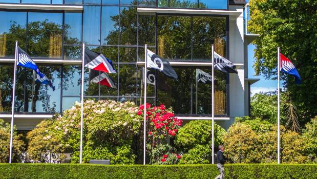 The alternative flag designs fly outside The George Hotel in Park Avenue, Christchurch. The Electoral Commission is ...