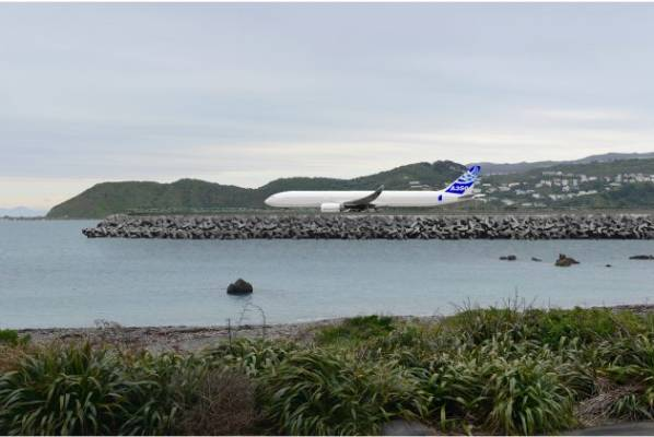 The view from 48 Moa Point Rd with an extended runway.