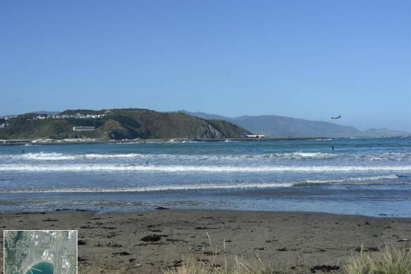 The view from Promenade, Lyall Bay with an extended runway.